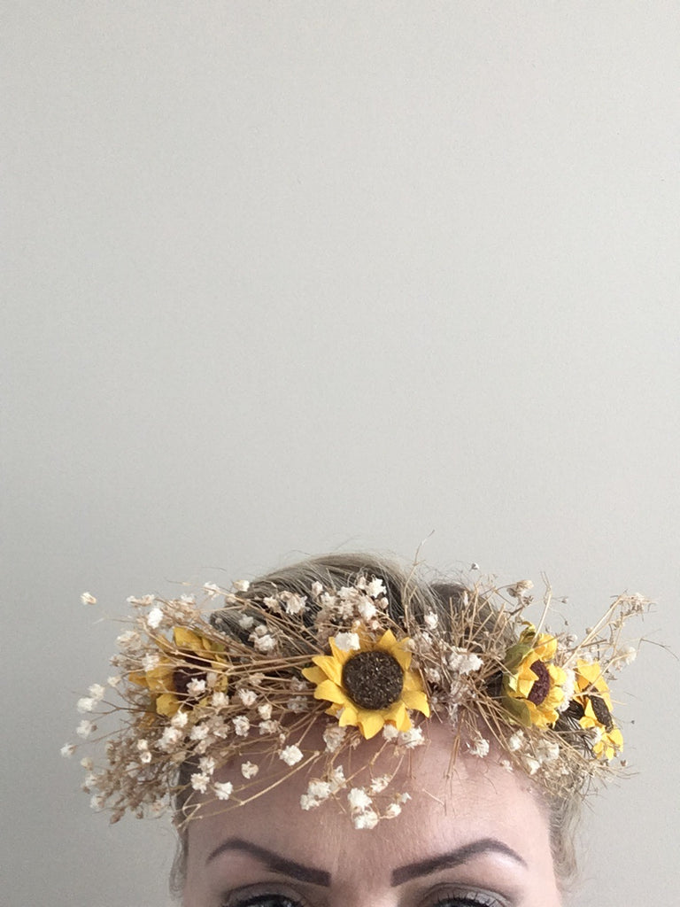 Dried Babies Breath And Sunflower Flower Crown Bouquet Chic Unique