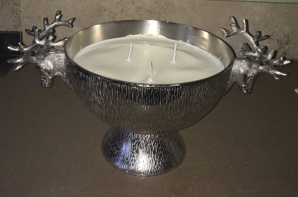 Large Silver Coloured Stag Head Candle Bowl