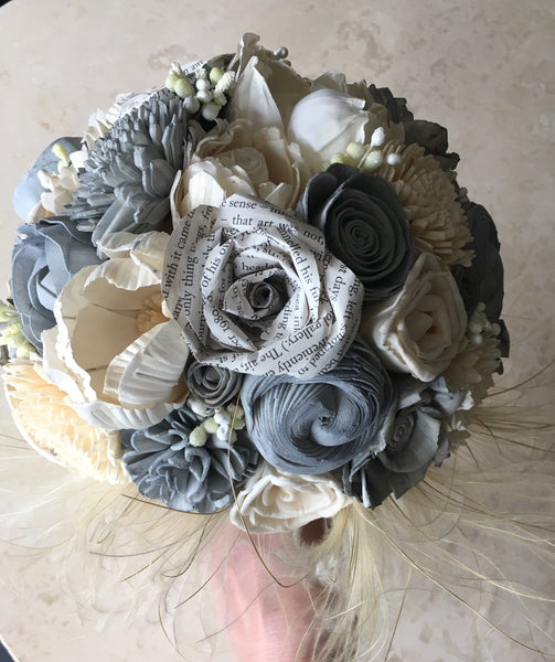 Lovestory book paper flowers, grey and ivory bridal, keepsake, alternative bouquet.