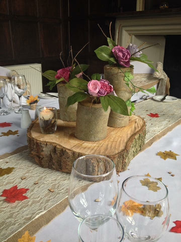 This Woodland/ Autumn/ winter /Outdoor Table centrepiece hire
