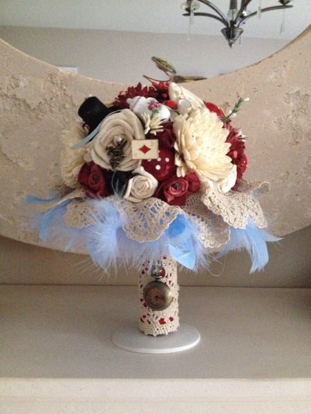 Alice in Wonderland inspired keepsake alternative bridal bouquet
