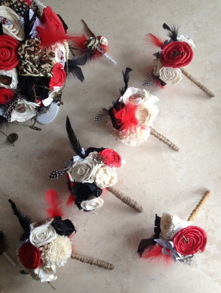 Red, black, Ivory steampunk alternative keepsake bridesmaid posey