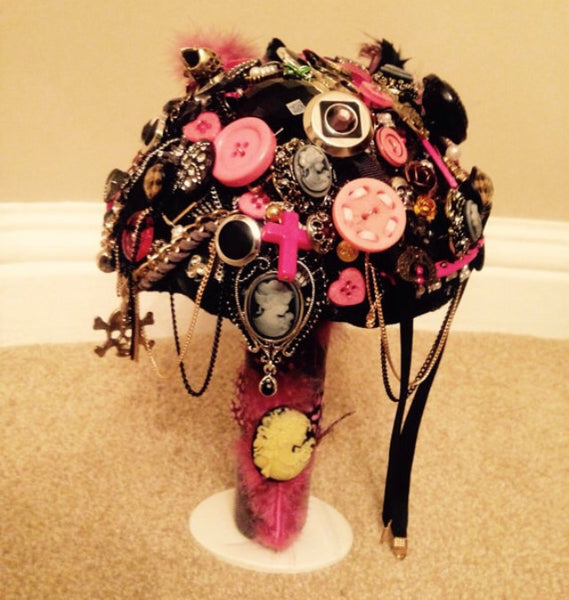 gothic, rock button and Brooch alternative keepsake bouquet