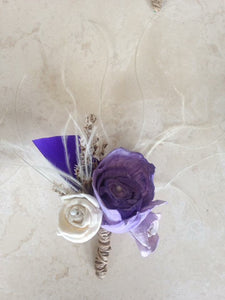Purple, lilac and ivory keepsake alternative buttonhole