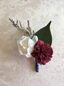 Burgundy, Navy Blue and Ivory, Soft, Romantic, Rustic,Alternative, Keepsake, Buttonhole