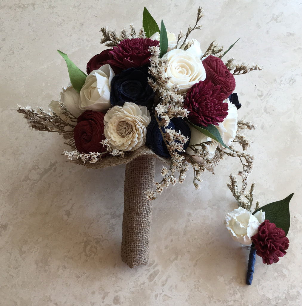 Burgundy Navy Blue And Ivory Soft Romantic Rustic Alternative Kee Bouquet Chic Unique