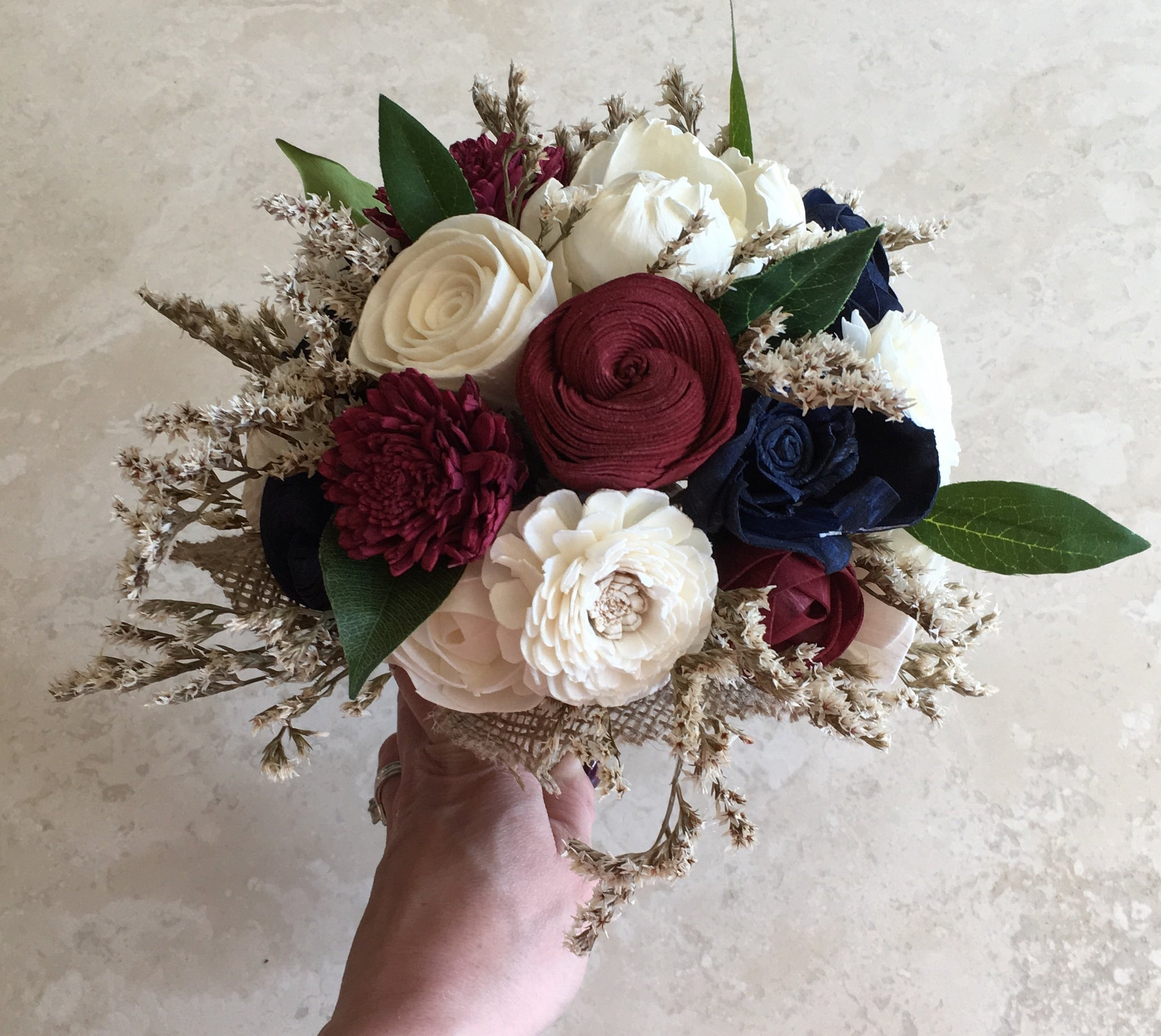 Burgundy, Navy Blue and Ivory, Soft, Romantic, Rustic,Alternative, Keepsake, Bridal Bouquet