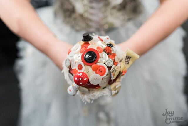 Alice in wonderland vintage inspired alternative keepsake bouquet