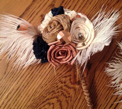Steampunk inspired keepsake, alternative, bridesmaid bouquet