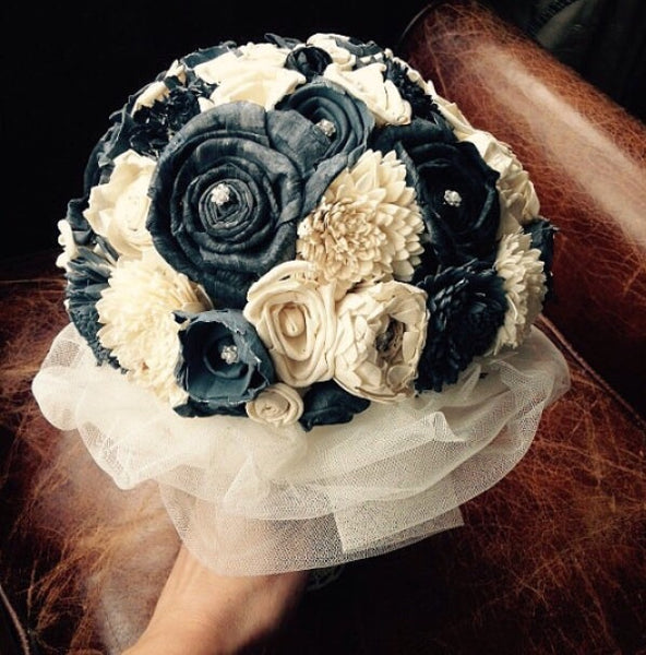 Slate Grey/Navy and Ivory Vintage inspired bridal alternative keepsake bouquet