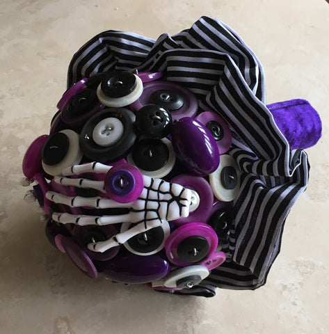 Nightmare Before Christmas Button Alternative Keepsake Bridal Bouquet