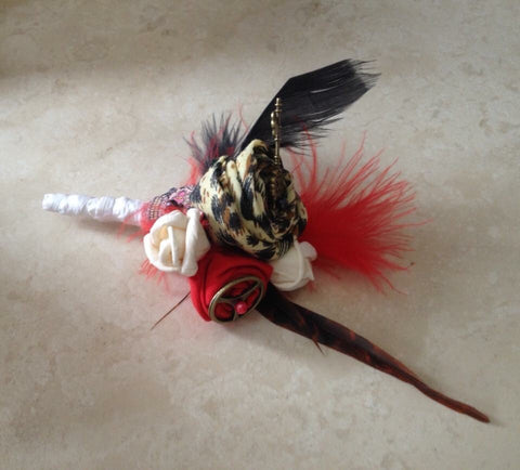 Red, black, Ivory and leopard print fabric flowers steampunk alternative keepsake buttonhole