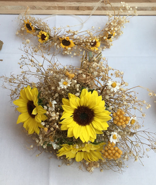 Sunflower, daisy, dried flowers and babies breath bridal boho bouquet.