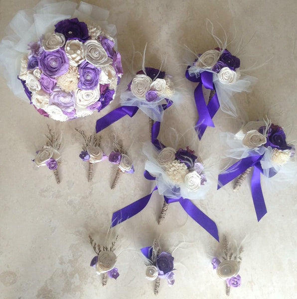 Purple lilac and ivory soft romantic vintage inspired Keepsake alternative bridal bouquet