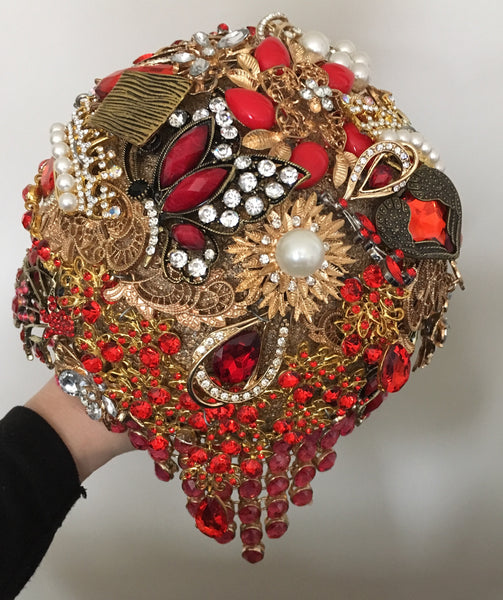 Red and Gold Brooch Bridal Alternative Keepsake Bouquet