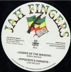 Barry Brown / Lion Melody ‎– Leader Of The Massive / Hypocrite And Parasite