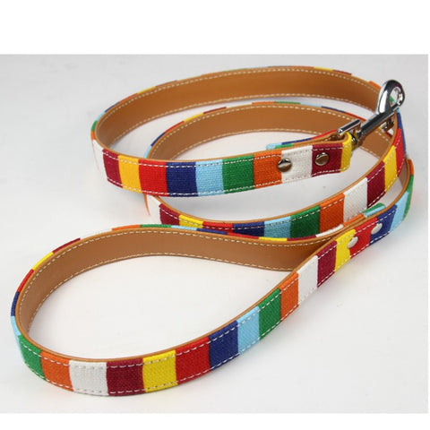 striped canvas dog collar and leash lead