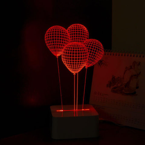 Dimmable 3D touch lamp - Red Balloons