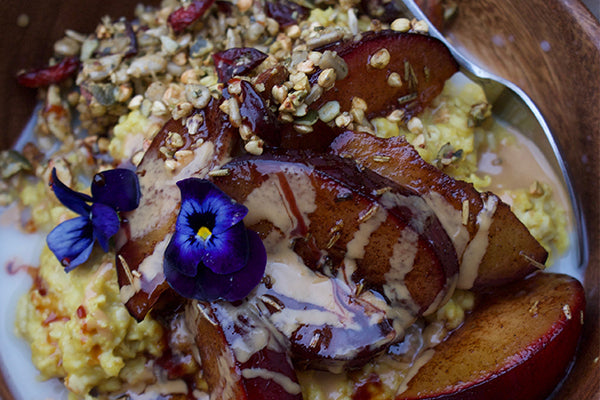 Millet Breakfast Recipe: Spiced Millet Porridge with Baked Plums