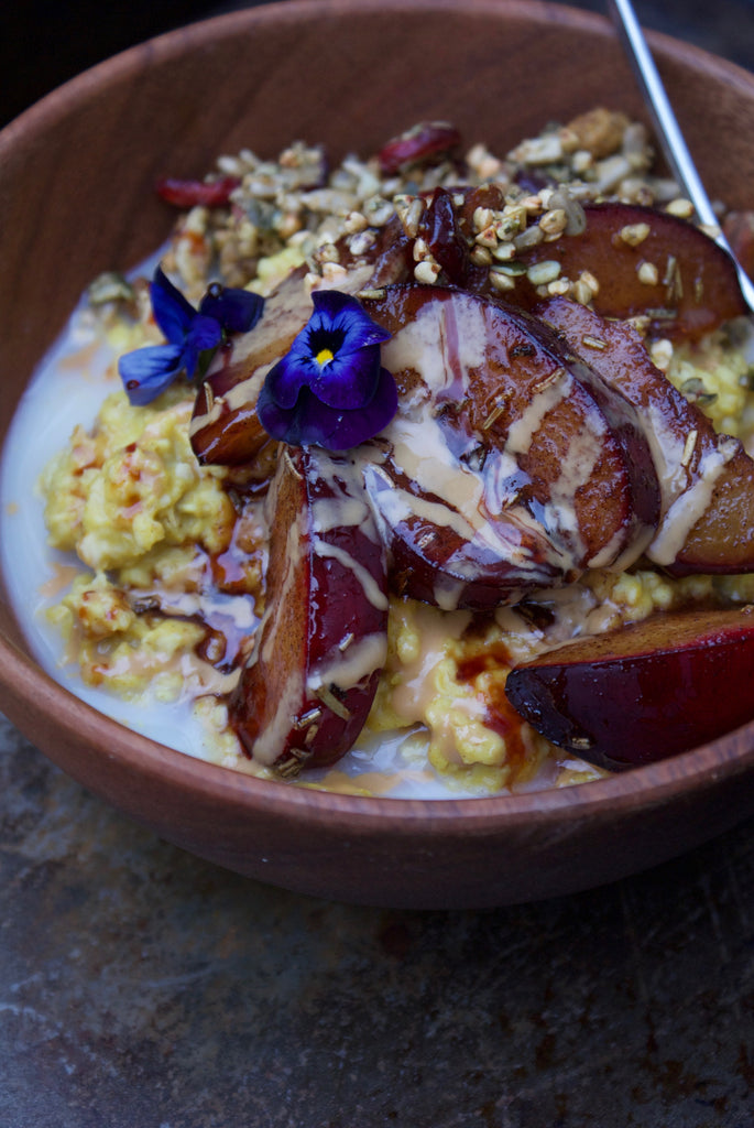 Millet breakfast recipe spiced millet porridge with baked plums sophie gordon is the founder of dust granola and the creator of this incredible warming porridge dust granola was inspired by sophies love of healthy forumfinder Images