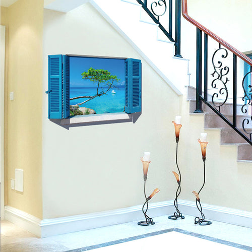3d Wall Stickers Art Vinyl Fake Window Wall Decals Removable Stickers