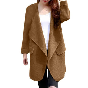 Warm Winter Women Coat Long Sleeve Knitted Wool Cardigan Solid Large Turn-down Collar Long Sweater Outwear