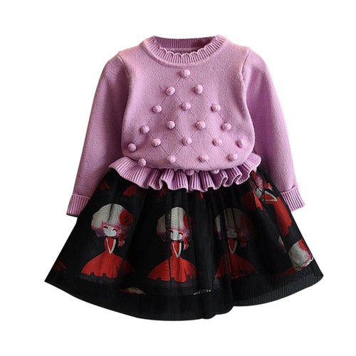 Girls Set Dress - Knitted Sweater & Patchwork Skirt