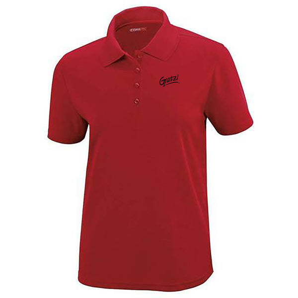 Ladies Red Short Sleeve Polo with Black Logo