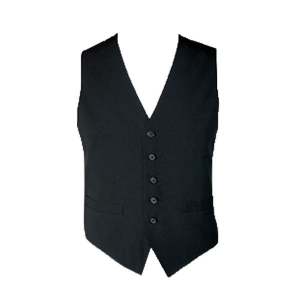 Men's Comfort Stretch Polyester Service Vest - Black
