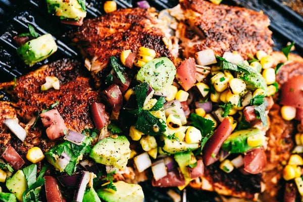 GRILLED SALMON & AVOCADO SALSA
