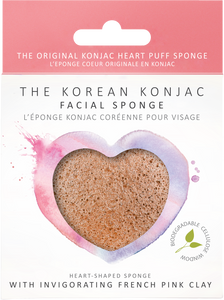 KONJAC Facial Sponge Heart Shaped with Pink French Clay