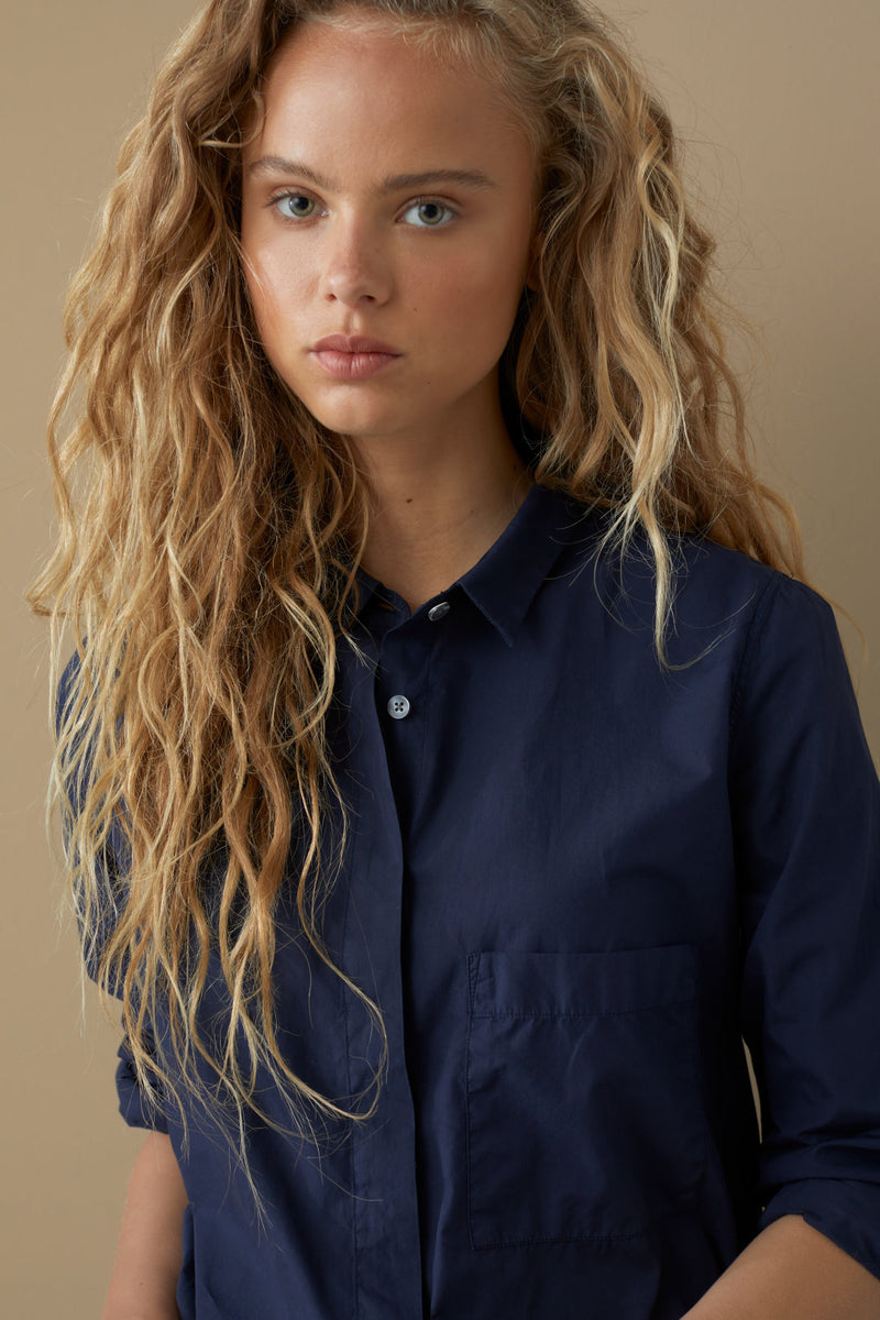 CLOSED Organic Cotton Poplin Blouse in Midnight