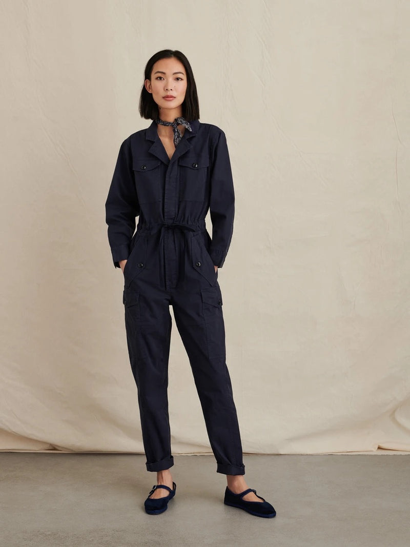 ALEX MILL CARGO JUMPSUIT IN NAVY