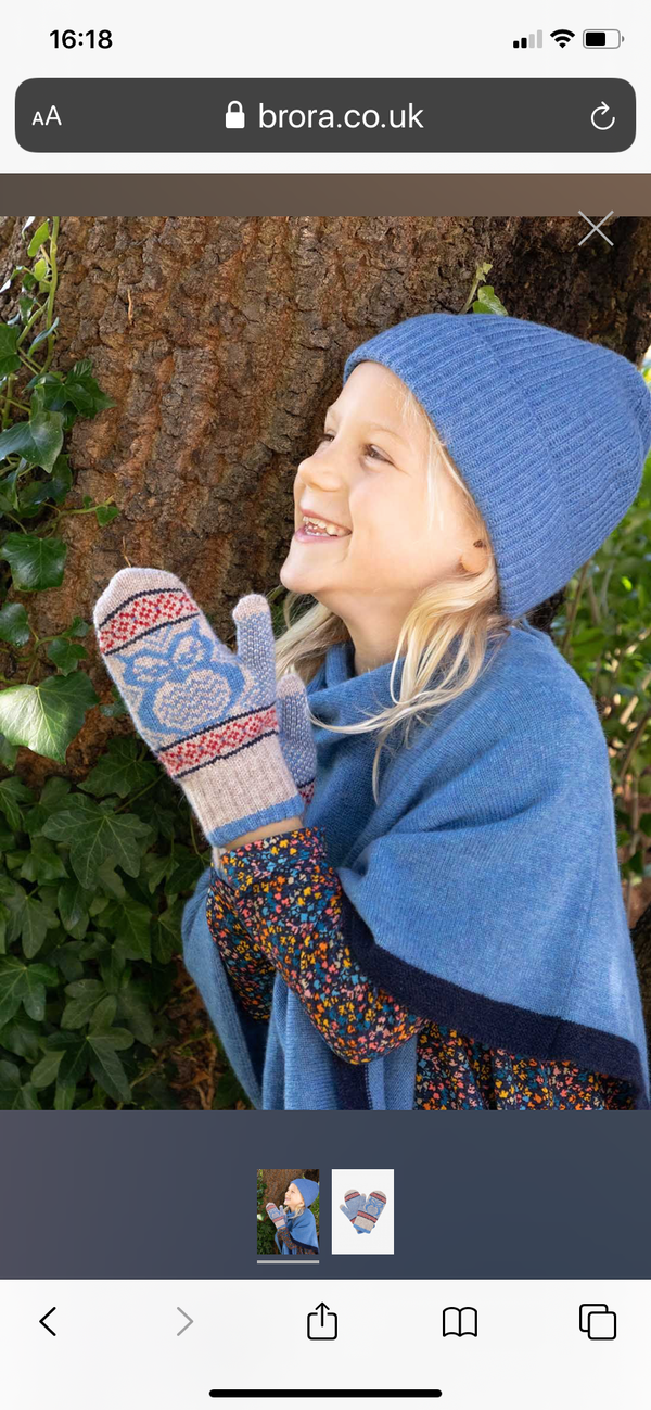 BRORA Cashmere Owl Mittens in Delft and Ash