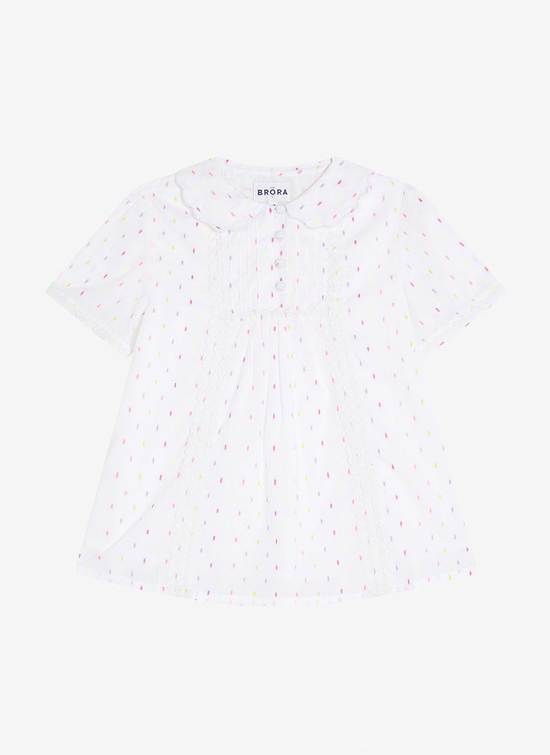 BRORA DOBBY SPOT COTTON BLOUSE