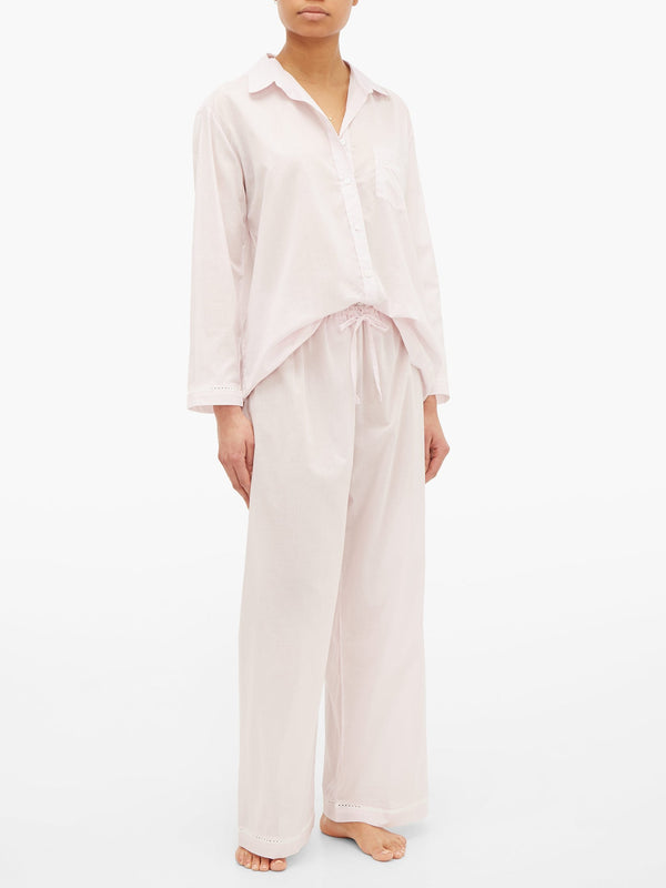 POUR LES FEMMES Cotton-voile Pajama Set in Soft Pink Sold Out