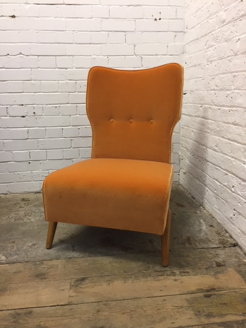 Orange Velvet Cocktail Chair