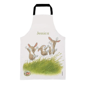 Percy The Park Keeper Apron Kids (Age 3-7) Personalised Rabbits Leaping Apron