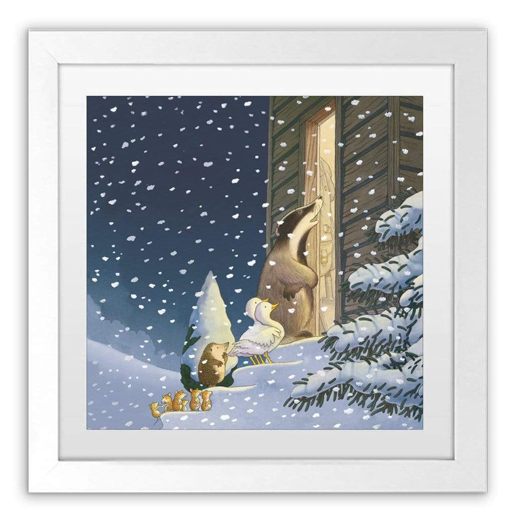 Percy The Park Keeper Art Print One Snowy Night cover framed print 40cm x 40cm