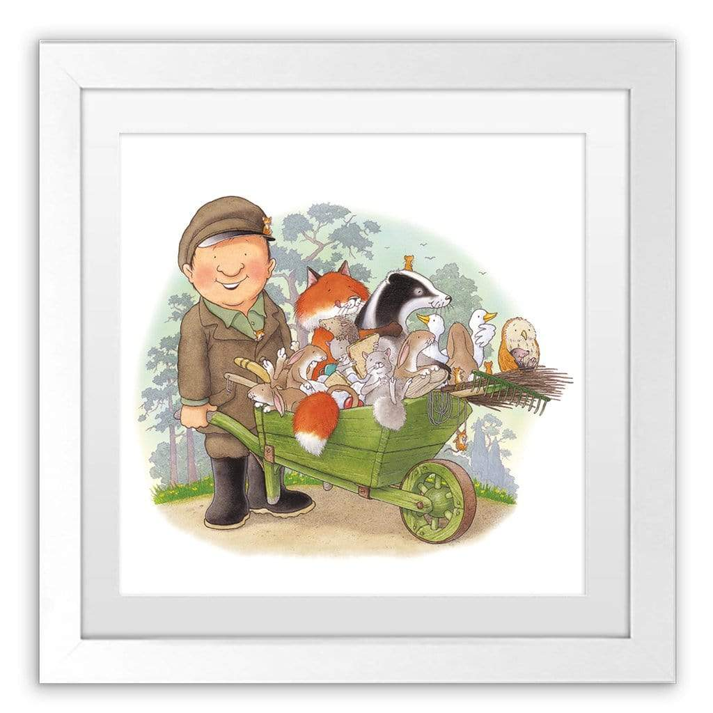 Percy The Park Keeper Art Print Percy and the animals wheelbarrow framed print 40cm x 40cm
