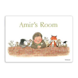 Percy The Park Keeper Door plaque Personalised Percy & Friends on white door plaque
