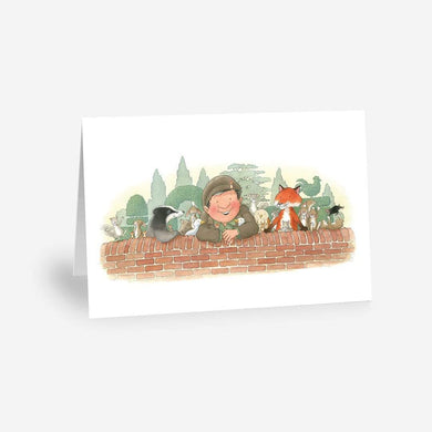 Percy The Park Keeper Greetings Card Animals at the Wall - A5 Greetings Card