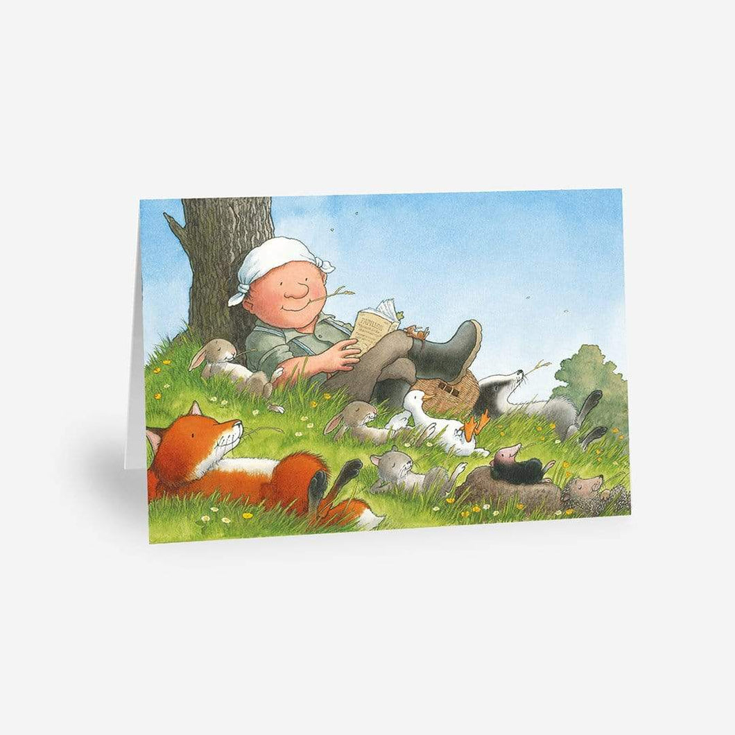 Percy The Park Keeper Greetings Card Friends Together Relaxing - A5 Greetings Card