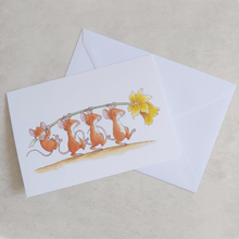 Percy The Park Keeper Greetings Card Mice and Daffodil - A5 Greetings Card