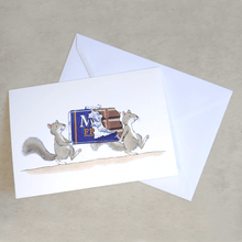 Percy The Park Keeper Greetings Card Squirrels and Chocolate - A5 Greetings Card