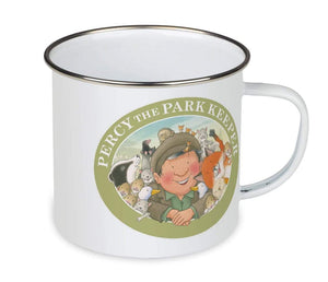 Percy The Park Keeper Mug Percy and friends wheelbarrow - enamel mug