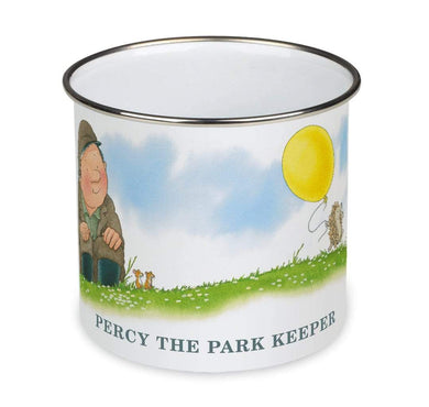 Percy The Park Keeper Mug Percy and the Hedgehog's balloon - enamel mug