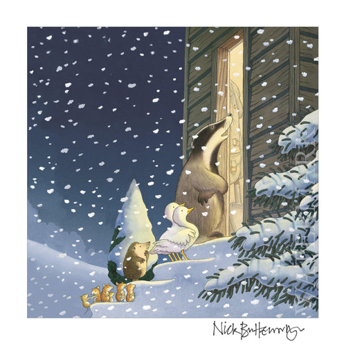 Percy The Park Keeper Signed Print One Snowy Night - cover print - signed by Nick Butterworth A3 width