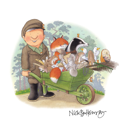 Percy The Park Keeper Signed Print Percy and his animal friends print - A3 width - signed by Nick Butterworth