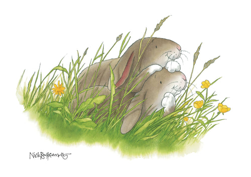 Percy The Park Keeper Signed Print Rabbits together print - A3 - signed by Nick Butterworth